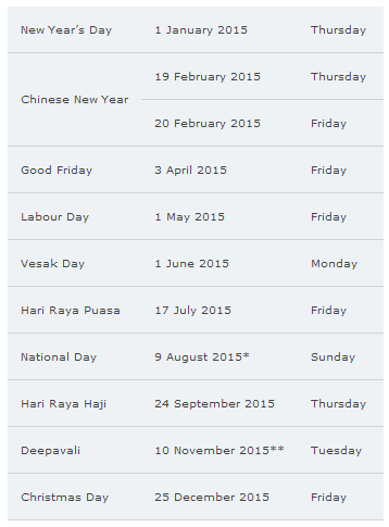 Mark your calendars with these public holidays in 2015 | Singapore.